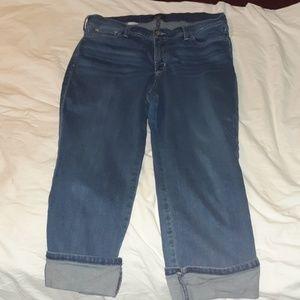 NYDJ Dayla Wide Cuff Capri Jeans 16 Lift X Tuck